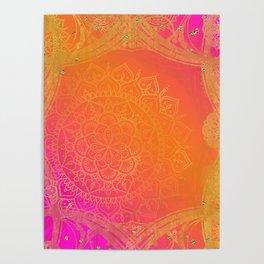 Fuchsia Pink Orange & Gold Indian Mandala Glam Poster