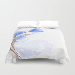 Abstract Blue Watercolor Tulips Duvet Cover