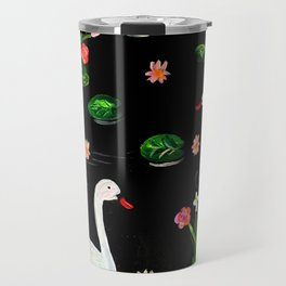Slavic Folk Art Inspired Acrylic and Gouache Two Swans Painting, Perfect Gift For The Holidays Travel Mug