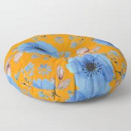 Blue flowers with orange Floor Pillow