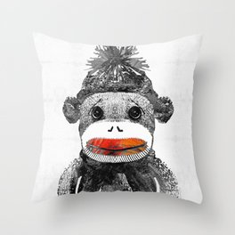 Sock Monkey Art In Black White And Red - By Sharon Cummings Throw Pillow