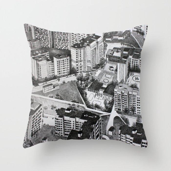 Graphic art, urban, city Throw Pillow