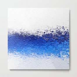 Contemporary Modern Textured Blue Abstract Metal Print