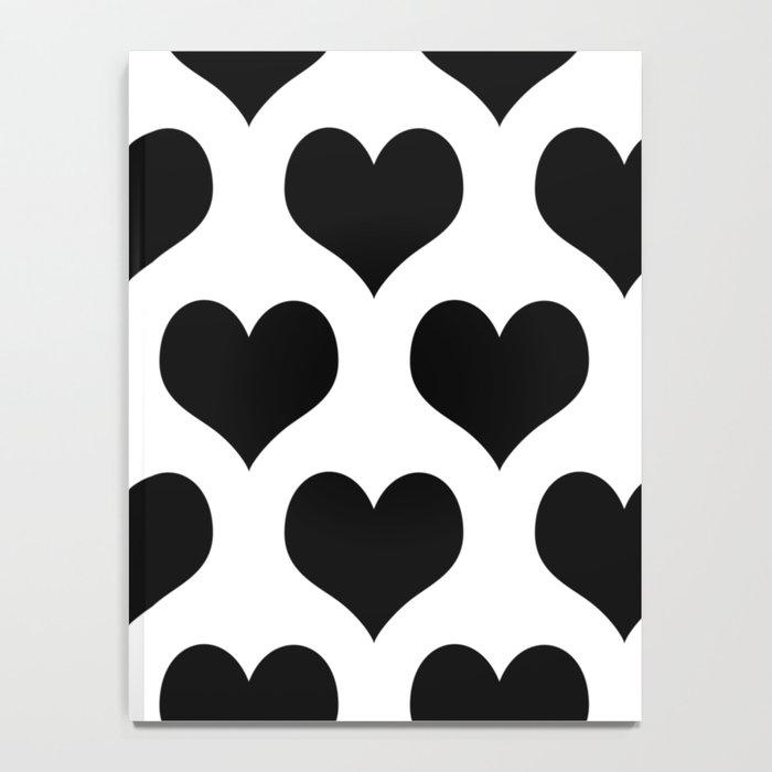 White Black Heart Minimalist Notebook