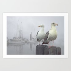 Two Sea Gulls in a Misty Harbor with Sailboats and Fishing Boats on Vancouver Island Art Print