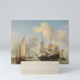 Ships at Anchor on the Coast, Willem van de Velde (II), c. 1660 Mini Art Print