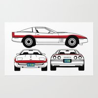 1984 Area & Throw Rugs featuring Face 1984 A-Team Chevrolet Corvette by Creative Spectator