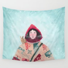 Frozen girl with bunny Wall Tapestry