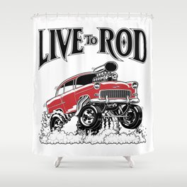 1955 CHEVY CLASSIC HOT ROD Shower Curtain