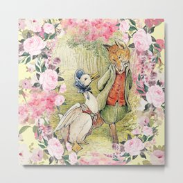 Jemima Puddle-Duck Floral Metal Print