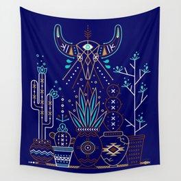 Santa Fe Garden – Navy Wall Tapestry