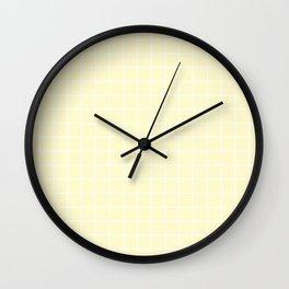 Lemon chiffon - pink color - White Lines Grid Pattern Wall Clock