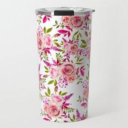 Elegant pink coral green watercolor roses pattern Travel Mug