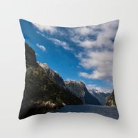 new zealand Throw Pillows featuring New Zealand by Michelle McConnell