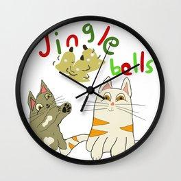 jingle bell kittens Wall Clock