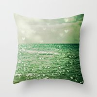 heaven Throw Pillows featuring Sea of Happiness by Olivia Joy StClaire