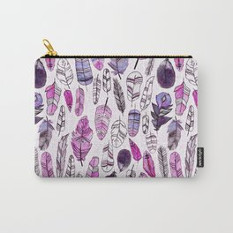 Purple Feathers Carry-All Pouch