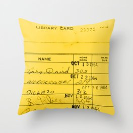 Library Card 23322 Yellow Throw Pillow