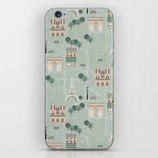 Paris Map Print Illustration iPhone & iPod Skin