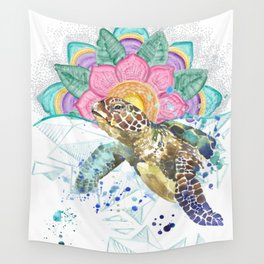 Sea Turtle Mandala & Geometric Ocean Wall Tapestry