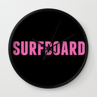 surfboard Wall Clocks featuring Surfboard Yeonce by SurfBumBeauty