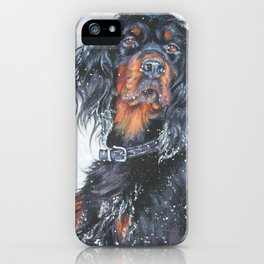 Gordon Setter dog art in snow from an original painting by L.A.Shepard iPhone Case