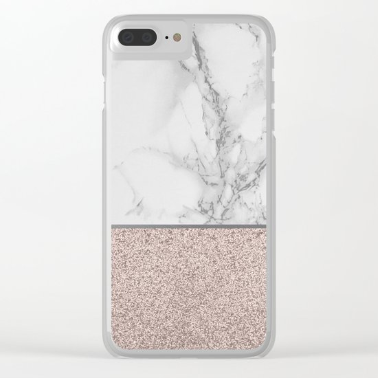 Marble + Glitter #2 Clear iPhone Case