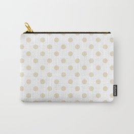 Small Polka Dots - Pearl Brown on White Carry-All Pouch