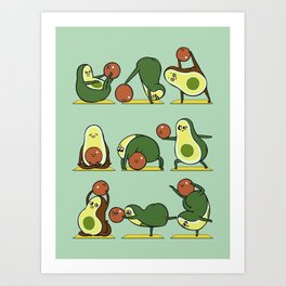 Avocado Yoga With The Seed Art Print