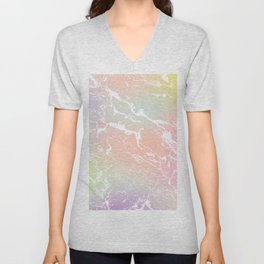 Rainbow unicorn yellow pink purple ombre soft pastels marble pattern Unisex V-Neck