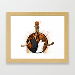 Basketball jump ball featuring two players in a basketball Framed Art Print