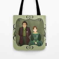 jane eyre Tote Bags featuring String (Jane Eyre) by Rebecca Brown