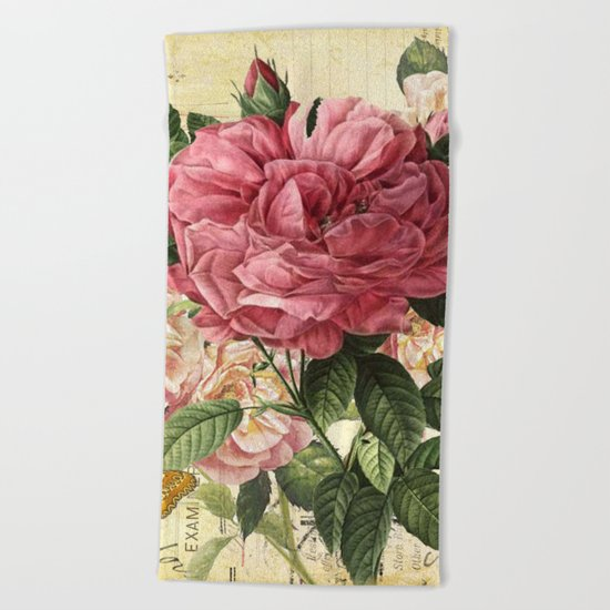 Vintage flowers #28 Beach Towel