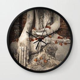 Buddha with flowers Wall Clock