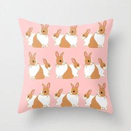 Blonde Dutch Rabbits Pattern Throw Pillow