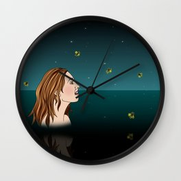Swimming With Fireflies Wall Clock