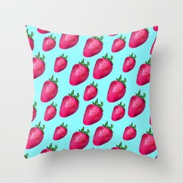 Fun Summery Strawberry Print With Light Blue Background! (Large Scale) Throw Pillow