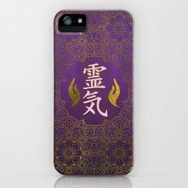 Golden Reiki Healing hands Symbol on purple lotus pattern iPhone Case