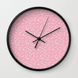 Postmodern Squiggles in Pink + Mint Wall Clock