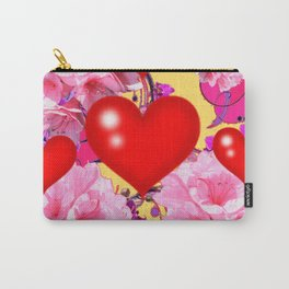Red Hearts Art & Pink Floral Purple Patterns Carry-All Pouch