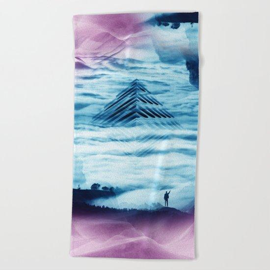 Pyramid Teal Beach Towel