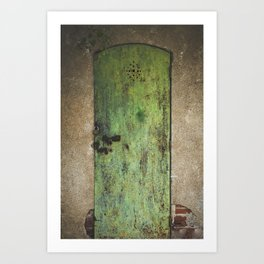 Rusty Green Door Art Print