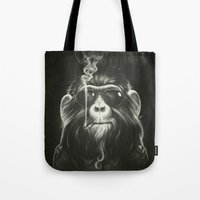 happy Tote Bags featuring Smoke 'Em If You Got 'Em by Dr. Lukas Brezak