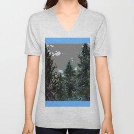 BABY BLUE WESTERN PINE TREES  LANDSCAPE Unisex V-Neck