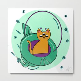 My Cats's An Alien//Space Cat Illustration, Cat Art Print Metal Print