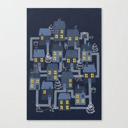 Houses and Christmas Canvas Print
