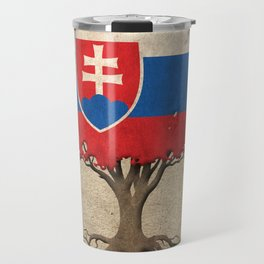 Vintage Tree of Life with Flag of Slovakia Travel Mug