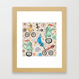 Cycling Cyclops or Cyclops Cycling Framed Art Print