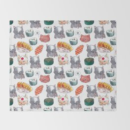 cat sushi gang Throw Blanket