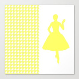 Lemonade Modern Houndstooth w/ Fashion Silhouette Canvas Print